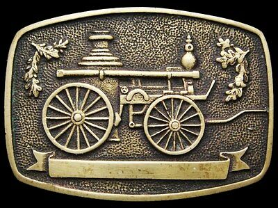 Il07127 Vintage 1978 **antique Steam Powered Vehicle** Solid Brass Belt Buckle