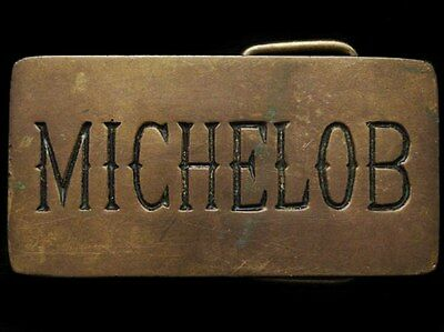IL01159 COOL VINTAGE 1970s **MICHELOB BEER** SOLID BRASS BELT BUCKLE