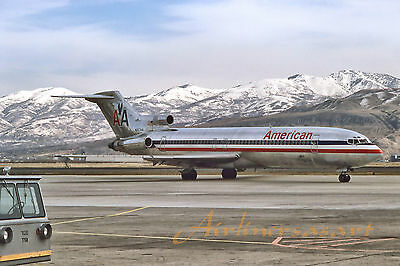 """American Airlines Boeing 727-223 N857AA at SLC April 1987  8""""x12"""" Color Print"""
