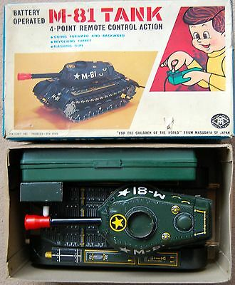 Vintage Masudaya M-81 Tank. 1970. Boxed With Insert. Working.