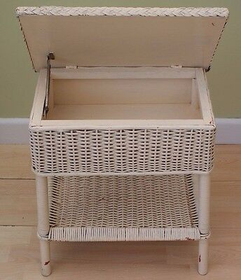 A Vintage Retro Loom Style Wicker Sewing Craft Or Baby Box With Glass Top
