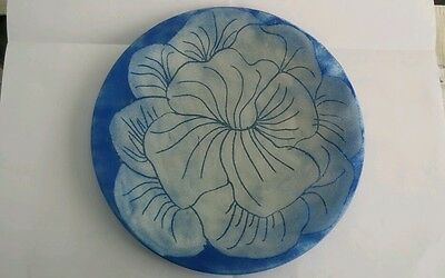 Vintage Sherry Schuster Signed 10 1/4 Inch Plate Blue &  White