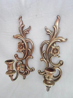 Pair VTG Plastic Syroco Dart Ind FLORAL WALL SCONCES CANDLE HOLDERS 3933