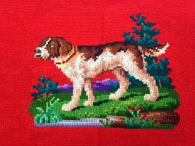 Antique Needlepoint Tapestry Dog Hunting Hound Finished Standing in Grass