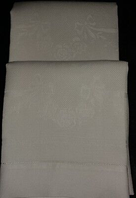 "Antique Set Of 2 Irish White Linen Towels  Damask Roses Bows Gorgeous 18x31""(#82"