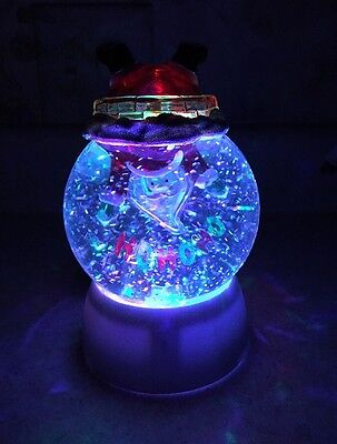 "Santa Claus Stuck In snow globe glitter Swirling Water Lighted 6"" Led Colors"
