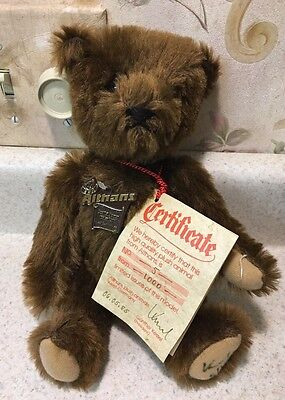 Althans Brown Teddy Bear Jointed Brown Mohair Germany 5/1000 Rare Foot Signed