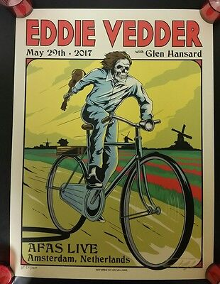 Eddie Vedder  Amsterdam 2017 Concert Poster Ap 84/100. Signed By Ian Williams