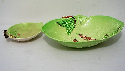 VINTAGE Carlton Ware dish bowl Holly Hocks Cabbage Leaf lot of TWO (2)