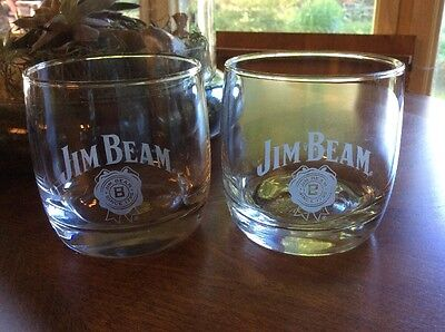 Jim Beam Glass Tumblers On the Rocks Bourbon Whiskey Man Cave Set of 2