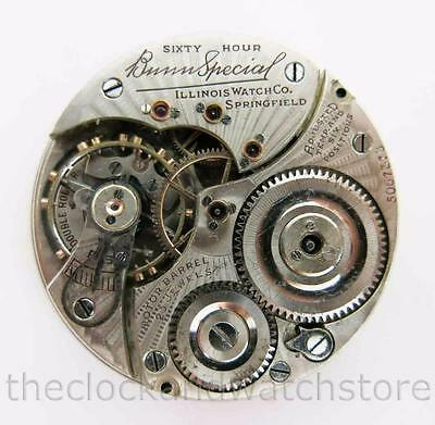 Illinois 16S 23J 60Hr Bunn Special Pocket Watch Movement Only For Parts