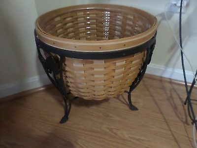 Longaberger  Large Ficus Planter Basket Wrought Iron Stand
