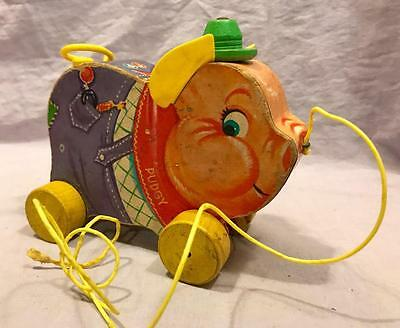 Antique Fisher Price 1950S Vintage Pudgy Pig Pull Toy