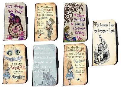 Alice in Wonderland Bonkers quotes leather phone case for Samsung A3 A5 J3 J5 S8