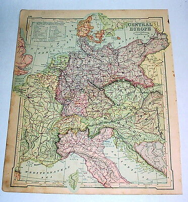 Antique 1875 Central Europe Map -- Old, Original, Colored