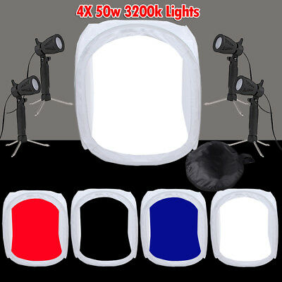 80cm Photo Photography Studio Softbox Cube Light Tent Soft Box +4 Backdrops Kit