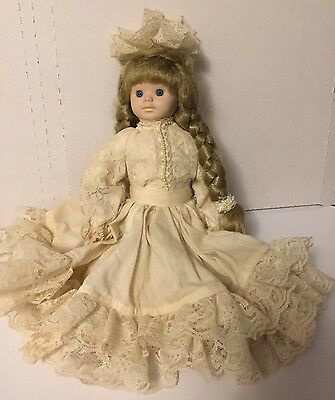 Collectible Ceramic&cloth 13 inch Doll Blonde Braided hair blue eyes White dress