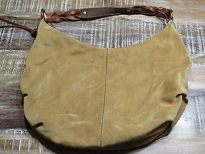 Lucky Brand Beige Brown Suede Leather Hobo Purse Hand Shoulder Bag Erfly