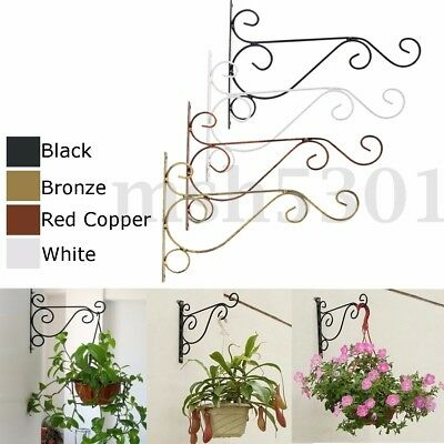 Antique Cast Iron Wall Mount Garden Hanging Plant Basket Hanger Hook Stand Decor