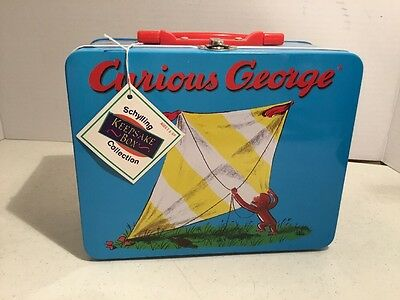 CURIOUS GEORGE FLYING A KITE TIN LUNCHBOX COLLECTIBLE 1990s