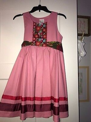 Matilda Jane Paint By Numbers Pink Floral Calypso Dress Girls Size 12 EUC