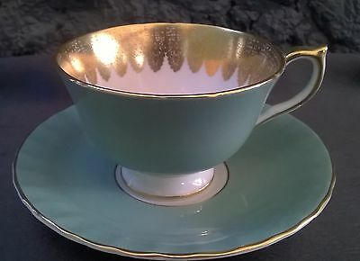 Aynsley Sage Green Heavy Gold Blue Rose Fancy Tea Cup and  Saucer