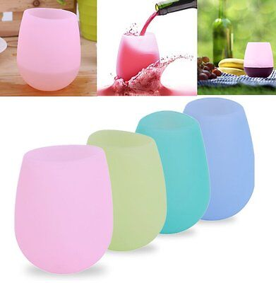 Unbreakable BBQ Silicone Cup Wine Glass Stemless Beer Whiskey Collapsible AU LA
