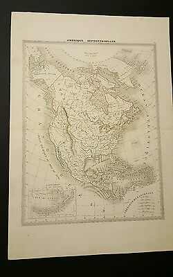 1830'S TO 1840'S Great North America map Hand Colored by a French map maker