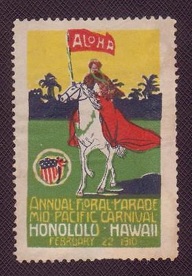 RARE 1910 Hawaii Postage Cinderella Stamp ALOHA! Vintage Antique Poster Sticker