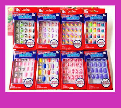 20/24 pieces Full Cover Girls Acrylic Fake Nail Set For Party Press-On Glue 0