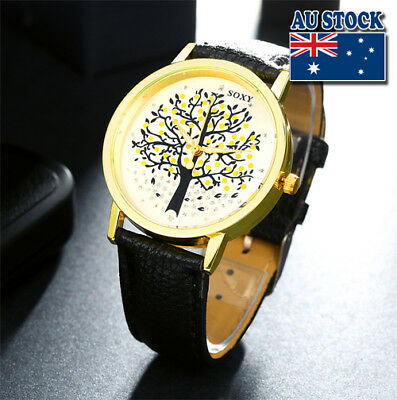 New Fashion Tree of Life Leather Alloy Quartz Analog Wrist Man's Watch Gift