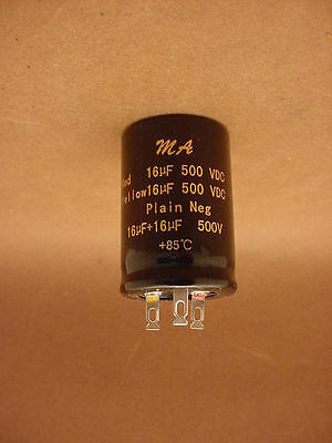 16 uF + 16 uF / 500 VOLT CAN DUAL ELECTROLYTIC CAPACITOR * 85 DEGREE C * NEW *