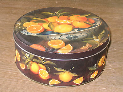 Vintage Lemon & Orange in Bowl Round Metal Cookie Candy Box / 3 x 7 inches