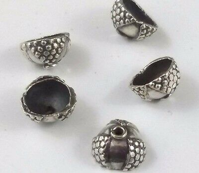 6 x Bumpy Handmade 925 Bali Sterling Silver Oxidized Bead Caps (94)