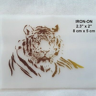 Tiger Pyrograph Iron-on Clothing Heat Transfer Emblem Patch Wild Cat Applique