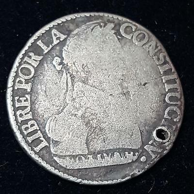 1830 Bolivia Republic 2 Soles Silver Coin Holed VG C20
