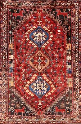 Excellent Vegetable Dye Tribal 5x8 Shiraz Oriental Abadeh Persian Area Wool Rug