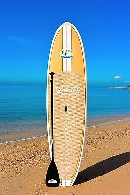 """10'6"""" RIDE THE TIDE SUP BAMBOO ALOHA Stand Up Paddle Board + ADJUSTABLE Paddle"""