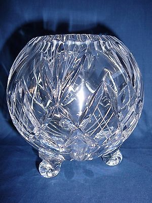 Heavy Lead Crystal Round Fishbowl Shape Vase Vintage Footed Stunning Centrepiece