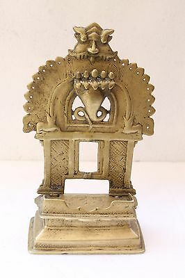 Antique Old Hand Crafted Brass God Holy Religious Bajot With Shrine Kaman NH3346