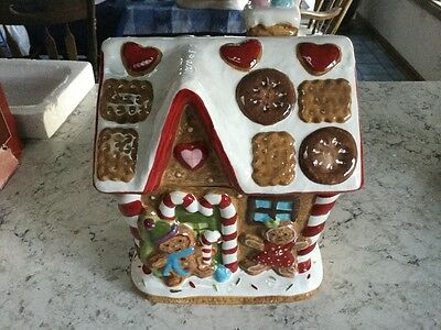St Nicholas Square Christmas Gingerbread Man House Tree Large Cookie Jar