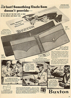 1942 WW2 era AD BUXTON Sam Brown Service Billfolds Wallets Gifts for GIs 041815