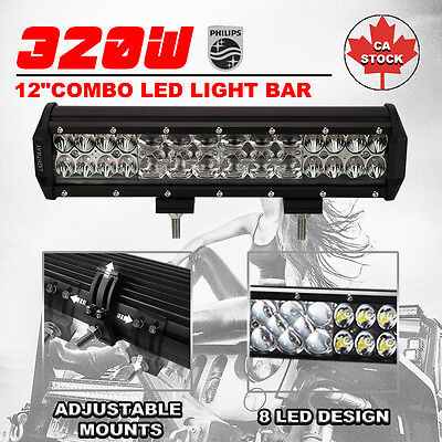 """7D+ 12Inch 320W Philips Led Light Bar Spot Flood Combo Truck Offroad 4Wd 12"""""""