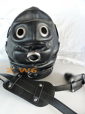 LEATHER GIMP Lockable O Ring Full Hood Mask Mouth Party Play Mask MUZZEL BLK0011