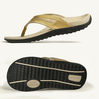' Spring' Series Gold Foot Bio-Tec Orthotic Thongs Shoes Pain Relief Women OZ