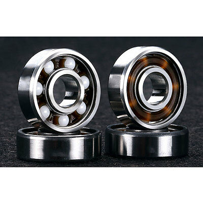 608RS Ceramic Ball Inline Skates Scooter Spare Bearings Drift Plate Silver