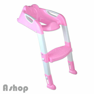 Toddler Kids Toilet Potty Trainer Seat Step Up Training Stool Chair With Ladder