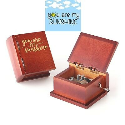 Engrave Wooden Book Hand Crank Music Box: ♫  You Are My Sunshine ♫