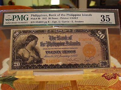 1912 20 Pesos,pmg 35 Choice V/f Philippines,bank Of The Philippine Islands