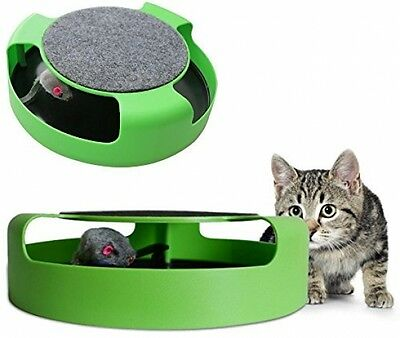 COSMALL@ Cat Kitten Catch The Mouse Moving Play Toy Interactive Plush Claw Mat